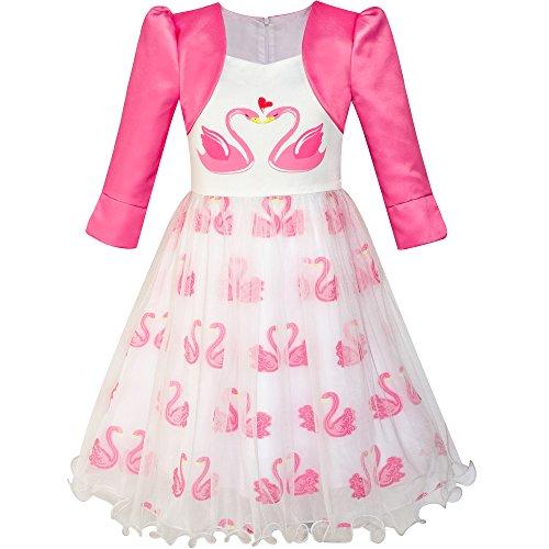 Sunny Fashion LU15 Girls Dress 2-In-1 Bolero Elegant Swan Party Dress Size 8 (Elegant Swan)