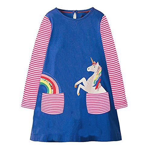 Toddler Girls Dress Cartoon Cotton Kids Unicorn Dress Christmas (4T, G10398) -