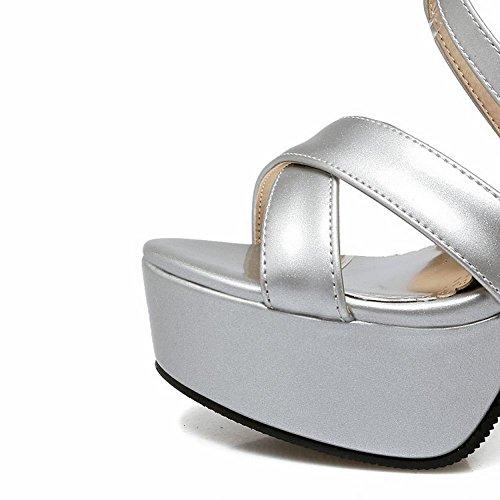 Women's Mee Silver Shoes High Platform Super Heel Toe Charm Peep Buckle Sandals 5xaxqw4