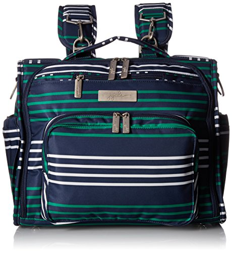 JuJuBe B.F.F Multi-Functional Convertible Diaper Backpack/Messenger Bag, Coastal Collection - Providence - Navy/Teal/White Stripes