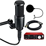 Audio-Technica AT2020 Side Address Cardioid Condenser Studio Microphone Bundle, w/ Focusrite Scarlett USB Audio Interface, Pop Filter Wind Screen & 6ft Premier Series XLR Male-Female Cable