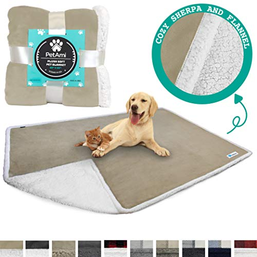 - PetAmi Deluxe Dog Blanket for Couch |Pet Blanket for Puppy and Large Dogs | Reversible Sherpa Fleece Plush Cat Throw – 80 x 60 Inches Taupe