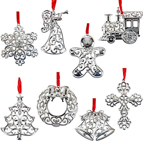 Lenox Sparkle And Scroll Holiday / Christmas Ornaments [Silver-Plated] (set-8) ()
