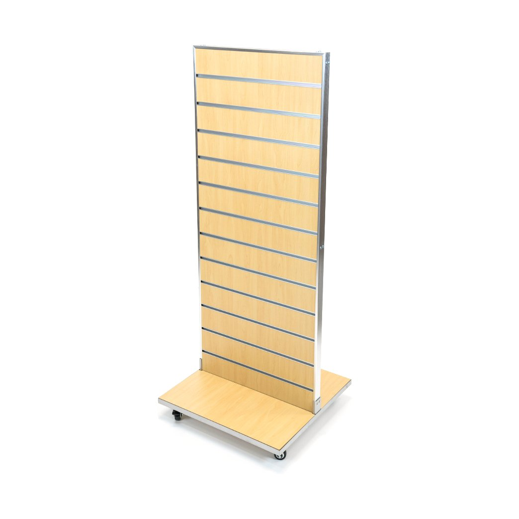 2-Sided Slatwall Merchandiser with Aluminum Frame, Slatwall with Aluminum Inserts, and Metal Base on Castors, Heavy-Duty and Durable