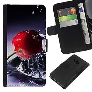 KLONGSHOP // Tirón de la caja Cartera de cuero con ranuras para tarjetas - Canasta de frutas - HTC One M7 //