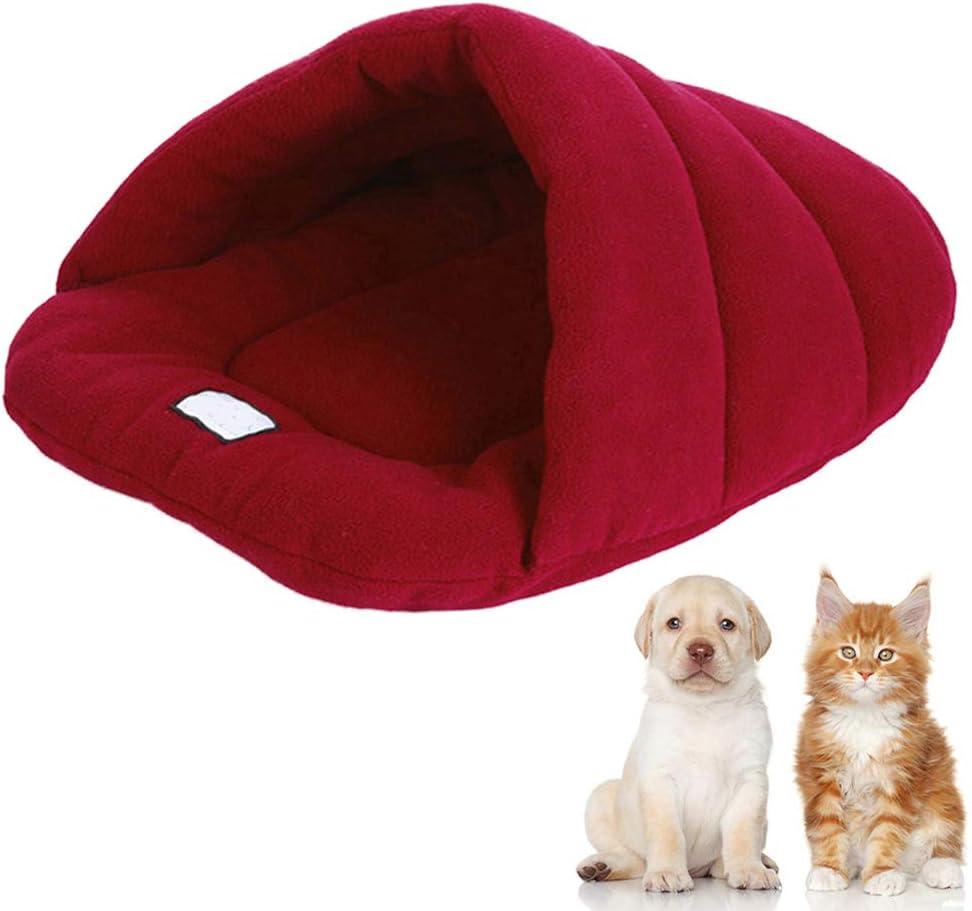 Wrighteu Saco de Dormir Cueva de Perro Gatos Caliente Suave Bolsas Cama Caseta Confortable para Mascotas Nido de Mascotas Carbón de Bambú Grande Mediano con Diseño Triangular (Mediano, Rojo Vino): Amazon.es: Productos