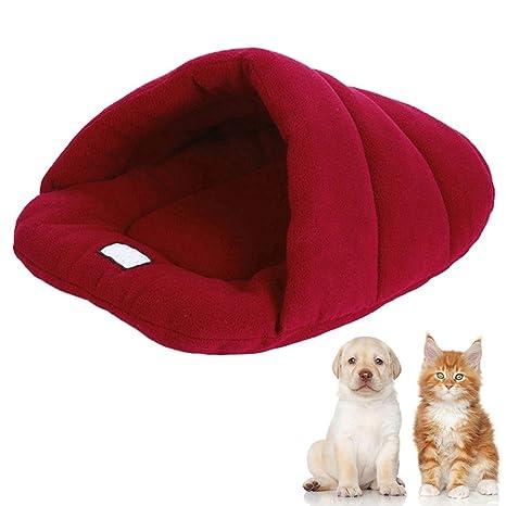 Wrighteu Saco de Dormir Cueva de Perro Gatos Caliente Suave Bolsas Cama Caseta Confortable para Mascotas