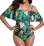 Women's One Piece Off Shoulder Strappy Flounce Ruffled Printed Monokini Swimsuits (S, Green)