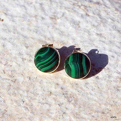 14k Malachite Stud - 14K Gold Malachite Studs Earrings - 14K Solid Yellow Gold Studs, Round 12mm Large Natural Stone, Genuine Dark Green Malachite Gemstone, Simple Minimalist Dainty Handmade Jewelry for Classy Women