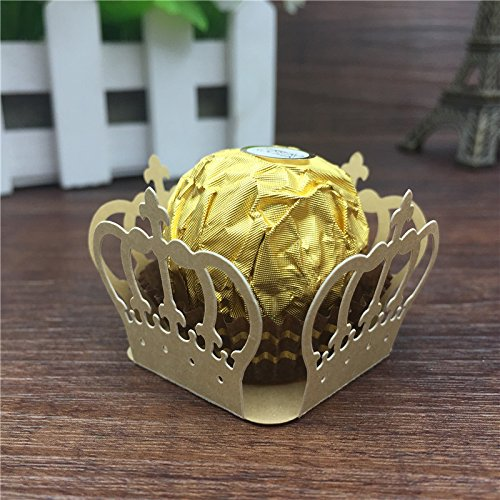 50pcs Crown Prince Paper Candy Bar Chocolate Packaging Bar Laser Cut Birtday Decoration Kids Party Supplies Wedding Decoration by Sopeace (Golden)