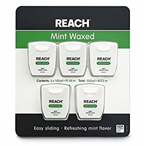 Reach Mint Waxed Dental Floss 100 Yards Per Pack (Pack of 5)