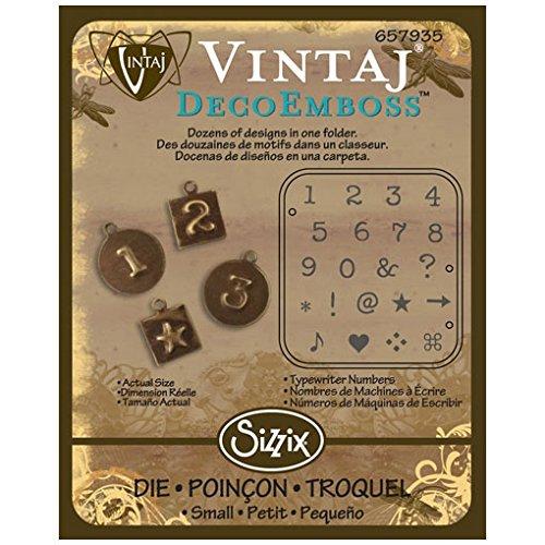 Die DecoEmboss Vintaj para máquinas Sizzix Bigkick - máquina de escribir números: Amazon.es: Hogar