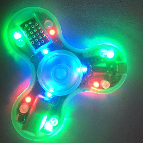 Light Green CRYSTAL clear transparent Bluetooth Connectivity Speaker LED LIGHT-UP Hard Plastic TRI FIDGET SPINNER EDC hand desk toy stress reducer for focus ADHD ADD