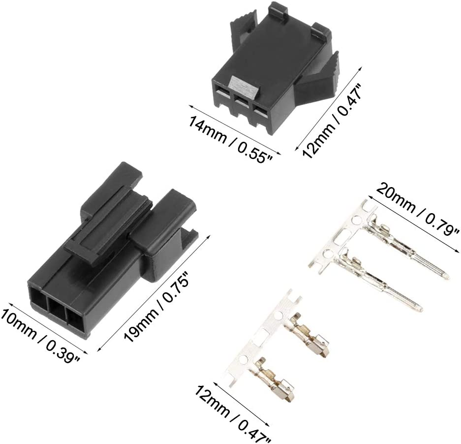 uxcell 100pair Plastic 2.5mm Pitch 3 Terminals JST SM Male Female Housing Connector Black