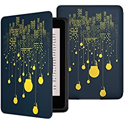 MoKo Case for Kindle Paperwhite, Premium Thinnest and Lightest PU Leather Cover with Auto Wake / Sleep for Amazon All-New Kindle Paperwhite (Fits 2012, 2013, 2015 and 2016 Versions), City Night View