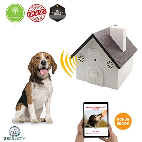 Serenity (New Upgrade Model) Ultrasonic Bark Control Device-Anti-Barking Training Tool - Safe Deterrent Silencer for Yard - Outdoor Sonic Control For Small/Medium/Large Dogs -Up To 50 Feet ()
