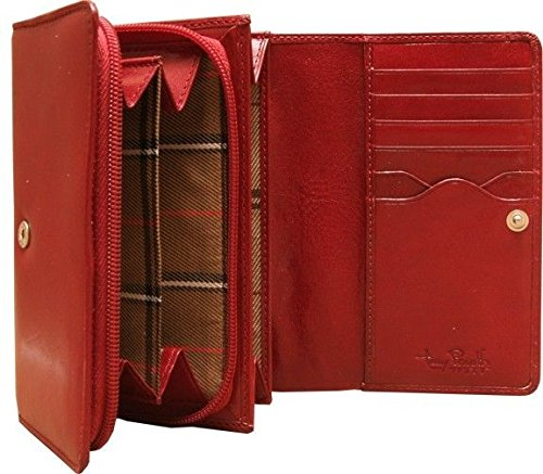 (Italian Bull Leather Zip Around Clutch Credit Card Wallet with Coin Pocket)