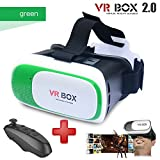 Black Virtual Reality Headset VR BOX 2.0 with black remote (3D glasses) (Green)