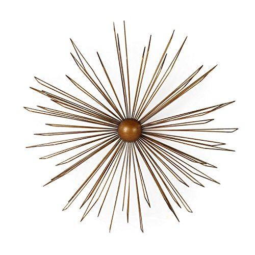 Home Art Decorative Gold-Color Iron Wall Hanging Accents Decor Widget, Contemporary Modern Starburst Design