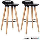 Krei Hejmo Plastic Bar Stool Chair with Wood Base Gelato - Set of Two (Black)