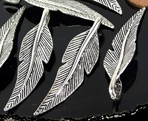 8 Feather Charms Antique Silver Pewter Bohemian Boho Pendants 46x11mm, gemstore, charms, natural stone, natural jewelry