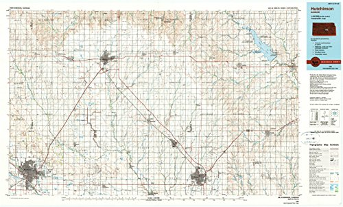 Hutchinson KS topo map, 1:100000 scale, 30 X 60 Minute, Historical, 1985, updated 1990, 24.57 x 40.89 IN - - Willowbrook Center