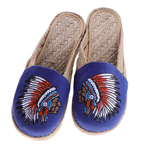 39 Slipper Floral Sandal Shoes Ethnic Dolity on Straw Slingback Slip Casual Lady Beach Blue O1xAqg