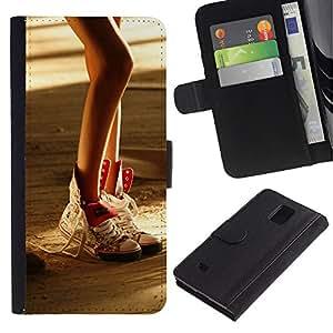 All Phone Most Case / Oferta Especial Cáscara Funda de cuero Monedero Cubierta de proteccion Caso / Wallet Case for Samsung Galaxy Note 4 IV // Design Sexy Leg