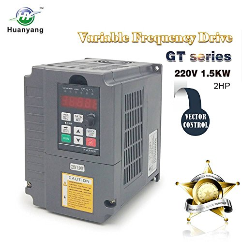 Vector Control CNC VFD Variable Frequency Drive Controller Inverter Converter 220V 1.5KW 2HP for Motor Speed Control HUANYANG GT-Series (220V, 1.5KW)