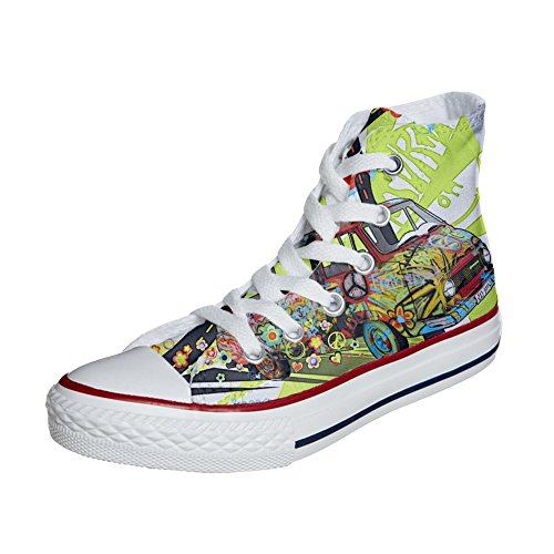 And Artisanal Coutume Love produit Peace Chaussures Customized Adulte Converse qxX04X