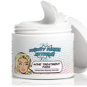 Acne Treatment – Acne pads that contain alpha beta, glycolic, salicylic, and lactic acids. Minimize pores, and clears away pimples, whiteheads, & blackheads for face & body. Stay Acnefree. 60 pads.