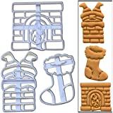 Set of 3 cookie cutters (Santa Claus Stuck in the Chimney, Stockings and Fireplace), 3 pcs, Ideal for Christmas party