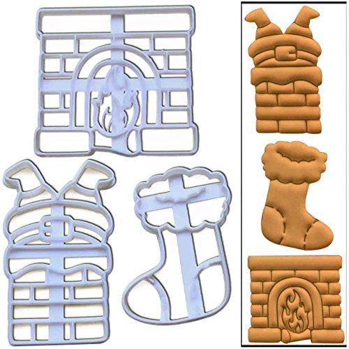 Set of 3 cookie cutters (Santa Claus Stuck in the Chimney, Stockings and Fireplace), 3 pcs, Ideal for Christmas party (Down Christmas Cake Chimney Santa)