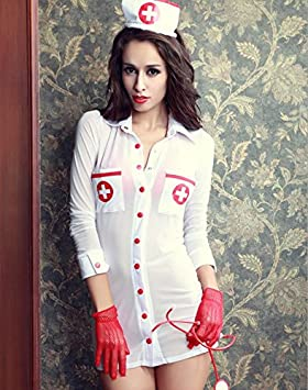 ZHLONG Las ligas mujer señoras ropa interior enfermera discoteca ropa pijamas juego uniformes tentaciones , white