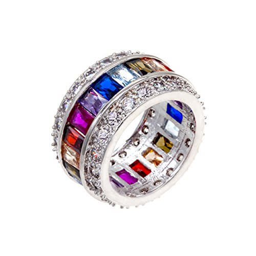 - Multi-color Clear CZ Ring Rainbow Color Cubic Zirconia Statement Cocktail Jewelry Size 6 - 9 for women (7)