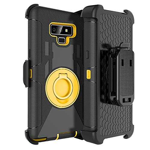 Fingic Phone Case for Note 9,for Note 9 Holster Case,Heavy Duty Rugged Armor Holster Clip Case Cover for Men Kickstand Full Body Protective Phone Case for Samsung Note 9,Yellow