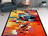 Champlain Multi Cubes Yellow Orange Blue Modern Abstract Painting Area Rug 5 x 7 ( 5'3' x 7'3' ) Easy Clean Stain Resistant Shed Free Contemporary Art Boxes Square Geometric Line Stripe Thick Plush