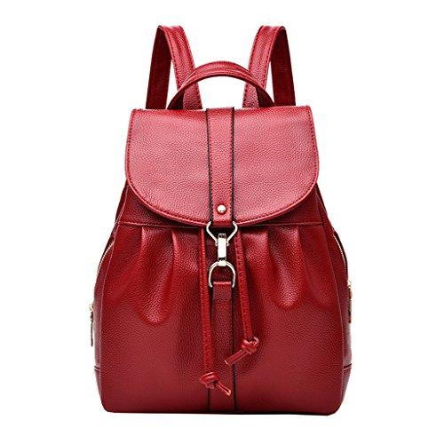 pelle Zaino bambina borsa viaggio da casual esterno TSRHFGT Red2 per da robusta da Borsa donna Borsa scuola in 0dagxUqg