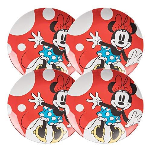 Vandor 89436 Disney Minnie Mouse 4 Pc. 10 in. Ceramic Plate Set ()