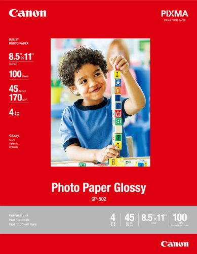 Canon Photo Paper Glossy, 8.5 x 11 Inches, 100 Sheets (0775B024)