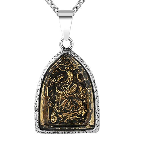 AJZYX Vintage Guan Gong Guan Yu Knight Pendant Necklace Titanium Steel Dog Tag Pendant Jewelry for Mens Boys