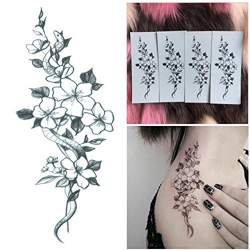 Tattoo Cherry (DaLin 4 Sheets Sexy Floral Temporary Tattoos for Women Flowers Collection (Snake and Cherry))
