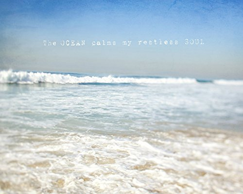 Coastal Ocean Waters Beach House Decor Wall Art Photo Print with Inspirational Quote ()