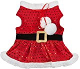 Friends Forever Santa Coat Cozy Sequin Vest Winter Jacket Sweater Hoodie Furry Collar Red Harness Pet Puppy Dog Christmas Clothes Costume Outwear Apparel Cat (Medium)