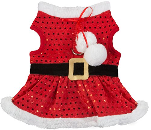 Friends Forever Santa Coat Cozy Sequin Vest Winter Jacket Sweater Hoodie Furry Collar Red Harness Pet Puppy Dog Christmas Clothes Costume Outwear Apparel Cat (Medium) -