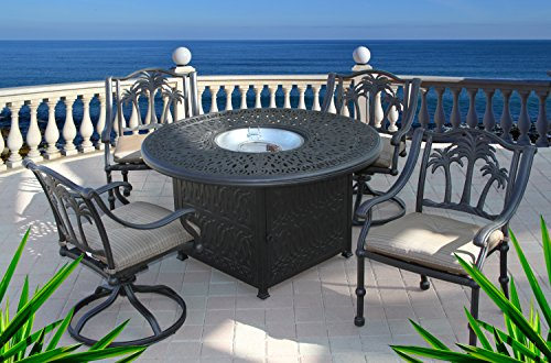 Heritage Outdoor Living Cast Aluminum Palm Tree 5pc Outdoor Dining Set with 52