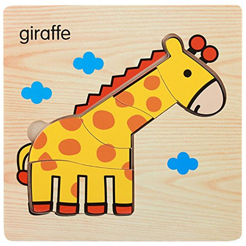 Puzzle Games,Animal Jigsaw,Hometom Wooden Magnetic Puzzle Educational Developmental Baby Kids Training Toy Gift (D)