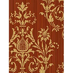 "Norwall CS27362 Red and Gold Damas Prepasted Wallpaper, 20 1/2"" Wide X 11 Yards per Bolt"