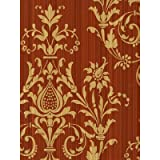 Norwall CS27362 Red and Gold Damas Prepasted Wallpaper, 20 1/2' Wide X 11 Yards per Bolt