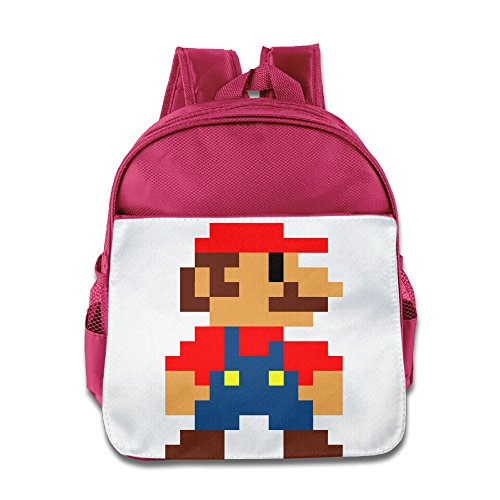 XJBD Custom Funny Mario Pixeles Boys And Girls School Bag For 1-6 Years Old Pink